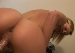 Blonde hottie on top is shaved and in love with dick