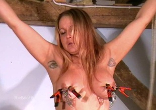 Breasty amateur bdsm of crazy painslut