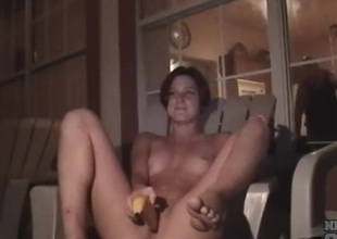 Cute college party unladylike fucks a banana