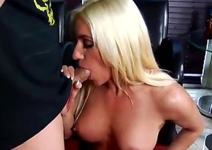Flaxen-haired pornstars is in her stockings. She is improvement a stud added to she's sucking his dick. She does it really skillfully. The man enjoys her company.