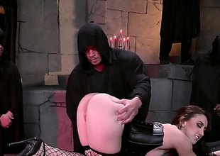 Brunette hair upon a really big ass, Mandy Muse, is in black lingerie, black fishnet stockings with an increment of shes sliding to love this bondage time where theyre despite that say no to aggravation to the test
