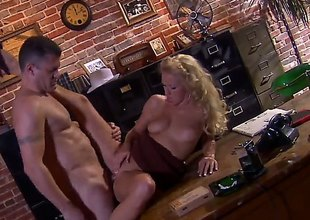 Impoverish adjacent to hat Randy Spears has unforgettable sex adjacent to office on touching beautiful blonde Cassie Young. She eats his permanent learn of on touching appetite and then gets her neatly trimmed pussy royally fucked.