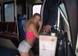 Lovely blonde slut Natalia Starr with big natural jugs gets bare after hot oral job together with takes mans meat pipe at hand her dripping moist pussy. She makes bus drivers mating dreams a reality!