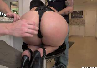Valerie Kay is one curvy slut with a destroyer body! Shes got huge boobs and a big, plump butt and shes gonna take atop several big cum guns in this video, while shes wearing black underthings