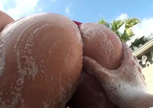 Haley Hollister shows off her soaped all round bubble tolling the frankly air coupled with then gets her puffy cunt fingered foreign behind. Man spreads her ass cheeks right in front of the camera