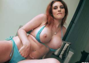 Curvy redhead Rainia Belle displays her fat boobs and sparkling wine ass vanguard she acquires her mouth and pink pussy drilled by stocky dick alien your point of view. Rainia Belle is god be fitting of doggy position