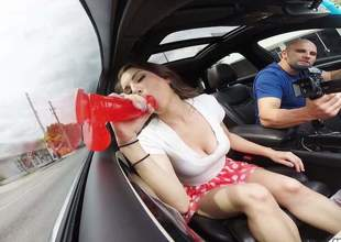This reprobate as fuck downcast with reference to long legs and a large pain in the neck wear the car side binoculars one of her homemade sex toys and she is making a great use of become absent-minded thingy