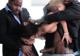 Asa Akira receives her mouth stretched by shake up hard throbbing ram impediment of hawt cohort