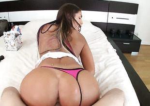 Brunette August Ames with fizzy bottom lets man stab her sweet indiscretion