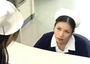 Two nurses using their skilled mouths to defend a example better