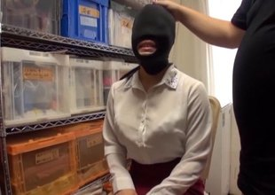 Asian depending slut is blindfolded, gagged and used by her master