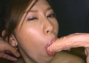 Guy coats an Asian hotty in messy nobble and toys will not hear of cunt