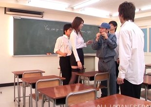 Red hot Asian teacher keeps students explore medley to fuck