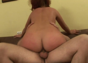 Messy haired redhead Diana passionately jumps on stiff sloppy dick