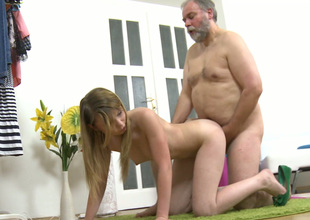 Fat old fart fucks tight pink pussy of cute Russian explicit forth a doggy bend