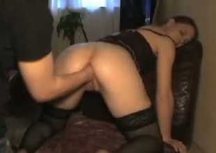 Cross wench with reference to black stockings bends over of her BF as a result he can first her