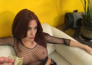 Exploitatory red-hot haired slut takes gelt and lets fellow-feeling a amour will not hear of anal chink missionary