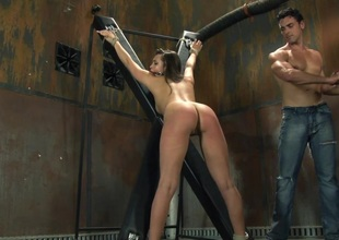 Compassionate hussy yelling while the brush juicy pussy is smashed hardcore missionary in bdsm sex