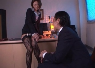 Bodily Ill-lighted with respect to nylons rides her boss cock doggy mood