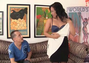 Lustful Asian female parent needs some rod from a younger dude