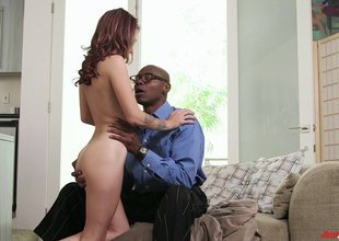 Ashen hustler with natural tits enjoys interracial dealings with BBC