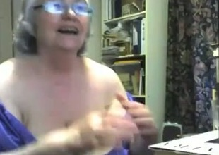 Crazy webcam unequalled with a fat granny toying her meaty twat