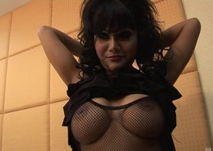 Wavy haired shady in fishnets milks a pompous cock of cum in pov