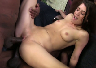 Bewitching redhead hoe Tiffany Doll gets nailed in interracial gang group sex