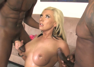 Excited fair-haired beauty Skylar Price copulates two black men