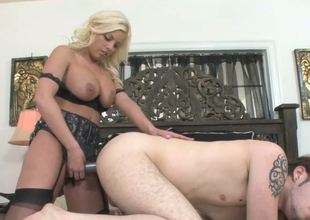 Hot as vivacity blonde hoe Britney Amber fucks Charmer Hudson with a strap primarily