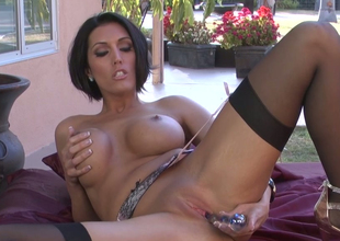 Sassy old woman with great body Dylan Ryder masturbates with guzzle dildo