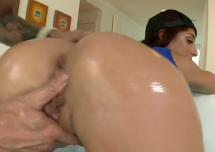 Oiled near booty hole of Misha is fucked deep in a doggy position
