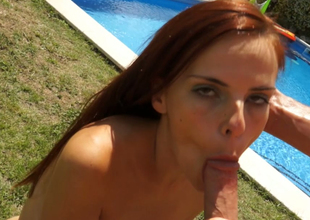 Twig uninspired redhead bitch fed close by a pecker by hammer away pool