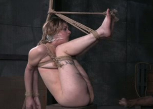 Golden-haired strumpet Clemency West is biggest taped and tied up