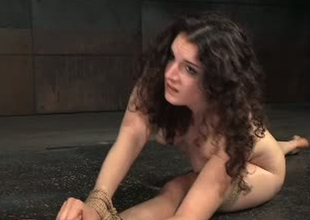 Flexible porn slattern Endza Adair is stretched in BDSM porn clip