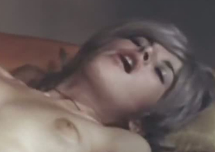 Superb together with cute golden-haired classic girl receives cunnilingus together with rides a dick