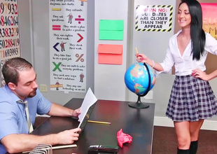 Innocent schoolgirl is light-hearted at one's fingertips detention on every side this scene.