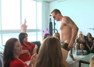 Bachelorette party gals are really worthy at sucking large stripper 10-Pounder