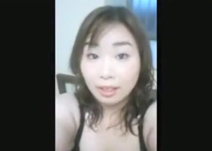 Bosomy asian gal with hairy pussy makes a scold sextape of will not hear of bf