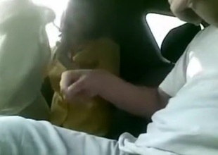 girlfriend sucking my locate in the motor car