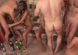 Evi C & Luna & Lydia R  in horny establishing orgy with a glamorous blond bimbo