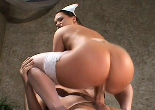 Enticing redhead nurse all round sickly nylons has a patient roughly pounding her holes