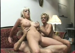 2 wonderful blondes please each other's seething snatches and share an older guy's cock
