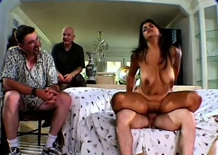 Plump brunette Mrs Walters gets fucked by a stud headway her man