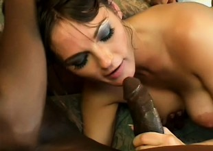 Impressive night-time with perfect tits gets nailed hard by two gloomy guys