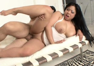 Buxom as fuck Asian slut with great tits gets roughed up on camera
