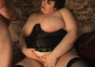 Ferocious chubby granny takes up shagging task with great pleasure