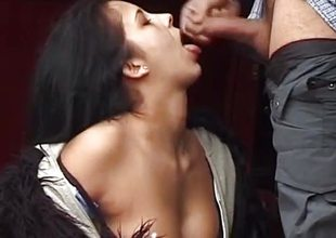 Dilettante brunette sucking blarney on touching public