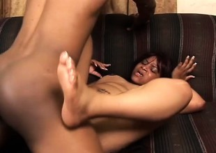 Chunky ebony wholesale surrenders their way needy cunt to a hung black stud