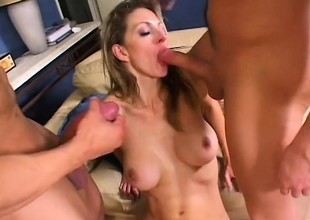 Roxanne Hall has 2 hung guys pounding her holes and wadding her brashness with jizz